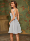 Fancy Square Neck Above Knee Prom Dress-Grey 2