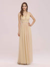 Fancy Sleeveless Solid Color Tulle Bridesmaid Dress With Belt-Gold 3