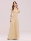 Fancy Sleeveless Solid Color Tulle Bridesmaid Dress With Belt-Gold 4