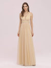 Fancy Sleeveless Solid Color Tulle Bridesmaid Dress With Belt-Gold 1
