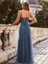 Simple Glittering A-Line Evening Dress With Lace-Up Back-Dusty Navy 2