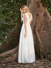 Adorable A-Line Satin Wedding Dress With Deep V Neck-Cream 2