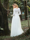 Women'S Fancy Round Neck Tulle Wedding Dress With Long Sleeves-Cream 2
