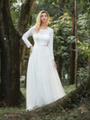 Women'S Fancy Round Neck Tulle Wedding Dress With Long Sleeves-Cream 4