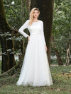 Women'S Fancy Round Neck Tulle Wedding Dress With Long Sleeves-Cream 3