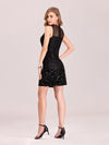 Women'S Hot Bodycon Sleeveless Mini Sequincocktail Dress-Black 2
