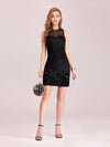 Women'S Hot Bodycon Sleeveless Mini Sequincocktail Dress-Black 4