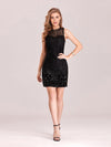 Women'S Hot Bodycon Sleeveless Mini Sequincocktail Dress-Black 1