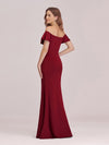 Sexy Off Shoulder Mermaid Evening Dress With Appliques-Burgundy 2