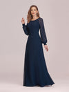 Casual Long Sleeve Maxi A-Line Chiffon Evening Dress-Navy Blue 3