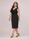 Women'S Plus Size V Neck Sequin Midi-Length Party Dress-Black 3