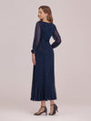 Women'S Simple V Neck Midi-Length Casual Dress With Long Sleeves-Navy Blue 2