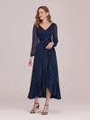 Women'S Simple V Neck Midi-Length Casual Dress With Long Sleeves-Navy Blue 3