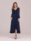 Women'S Simple V Neck Midi-Length Casual Dress With Long Sleeves-Navy Blue 4