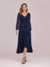 Women'S Simple V Neck Midi-Length Casual Dress With Long Sleeves-Navy Blue 1