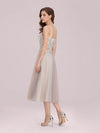 Romantic A-Line Short Tulle Bridesmaid Dress With Appliques-Pink 2