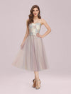 Romantic A-Line Short Tulle Bridesmaid Dress With Appliques-Pink 4
