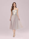 Romantic A-Line Short Tulle Bridesmaid Dress With Appliques-Pink 1