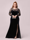 Trendy Plus Size Side Split Velvet& Lace Evening Dress-Black 4