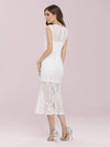 Gorgeous Round Neck Sleeveless Lace Party Dress-Cream 2