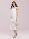 Gorgeous Round Neck Sleeveless Lace Party Dress-Cream 3