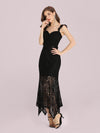 Elegant Casual Tea-Length Lace Bodycon Party Dress-Black 3