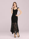 Elegant Casual Tea-Length Lace Bodycon Party Dress-Black 1
