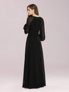 Simple A-Line Chiffon Evening Dress With Long Sleeves-Black 2