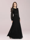 Simple A-Line Chiffon Evening Dress With Long Sleeves-Black 1