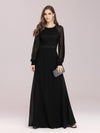 Simple A-Line Chiffon Evening Dress With Long Sleeves-Black 4