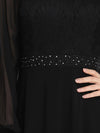 Simple A-Line Chiffon Evening Dress With Long Sleeves-Black 5