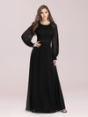 Simple A-Line Chiffon Evening Dress With Long Sleeves-Black 3