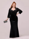 Women'S Hot Maxi Fishtail Velvet & Sequin Evening Dress-Black 3