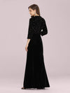 Women'S Hot Maxi Fishtail Velvet & Sequin Evening Dress-Black 2