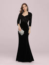 Women'S Hot Maxi Fishtail Velvet & Sequin Evening Dress-Black 1