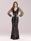 Shiny Mermaid Sequin Evening Dress With See-Through Sleeves-Black 4