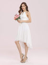 Plain Round Neck Lace & Chiffon Wedding Dress For Women-Cream 3