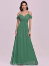Fancy Cold Shoulder Simple Chiffon Maxi Bridesmaid Dress-Green Bean 4