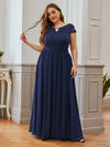 Alluring Plus Size Round Neckline Lace Evening Dresses-Navy Blue 1