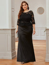 Elegant Plus Size Round Neck Evening Dresses With Half Sleeves-Black 4