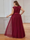 Elegant Plus Size Round Neck Tulip Sleeves Tulle Evening Dresses-Burgundy 2