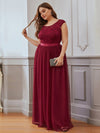 Elegant Plus Size Round Neck Tulip Sleeves Tulle Evening Dresses-Burgundy 3