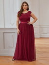 Elegant Plus Size Round Neck Tulip Sleeves Tulle Evening Dresses-Burgundy 4