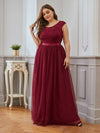 Elegant Plus Size Round Neck Tulip Sleeves Tulle Evening Dresses-Burgundy 1