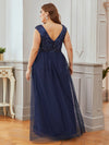 Gorgeous Sleevesless Double V Neckline Plus Size Tulle Evening Dresses-Navy Blue 2