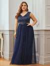 Gorgeous Sleevesless Double V Neckline Plus Size Tulle Evening Dresses-Navy Blue 3