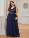Gorgeous Sleevesless Double V Neckline Plus Size Tulle Evening Dresses-Navy Blue 4