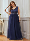 Gorgeous Sleevesless Double V Neckline Plus Size Tulle Evening Dresses-Navy Blue 1