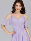 Elegant Chiffon V-Neck Bridesmaid Dresses With Ruffles Sleeves-Lavender 10