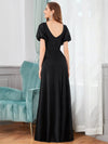 Flattering Double V-Neck Evening Dresses With Puff Sleeves-Black 2